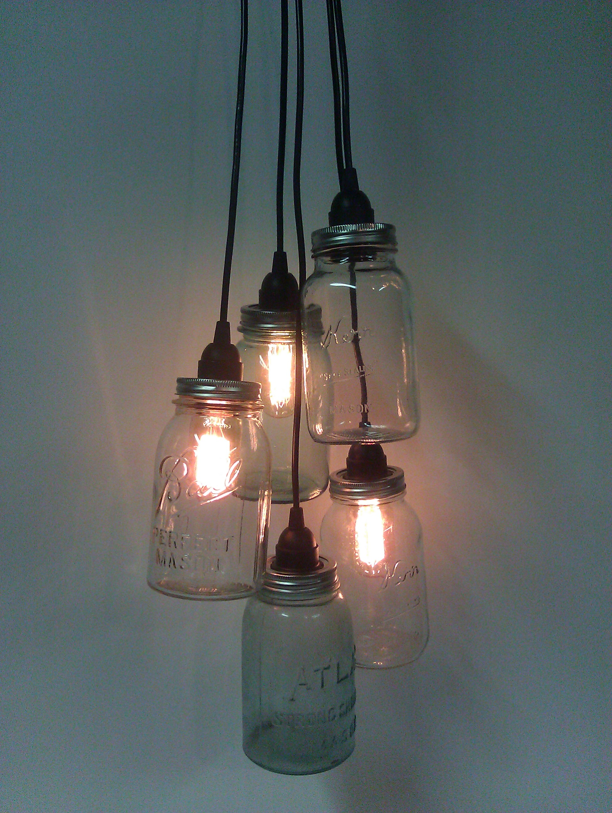 Mason Jar Cluster Pendant Light Portman Workshop